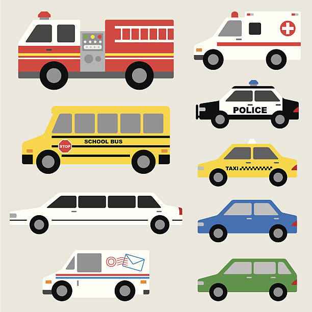 Car Set Vector illustration of different types of automobiles including fire truck, ambulance, school bus, police car, taxi, postal truck, van, etc. fire engine stock illustrations