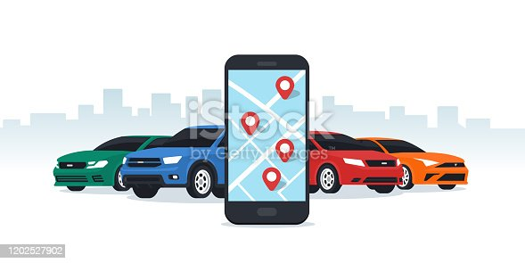 Car sharing and rent service. Online ordering for smartphone. Mobile app ordering automobile vehicle with location mark rent car sharing. Flat vector illustration.