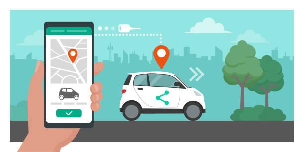Car sharing app vector art illustration