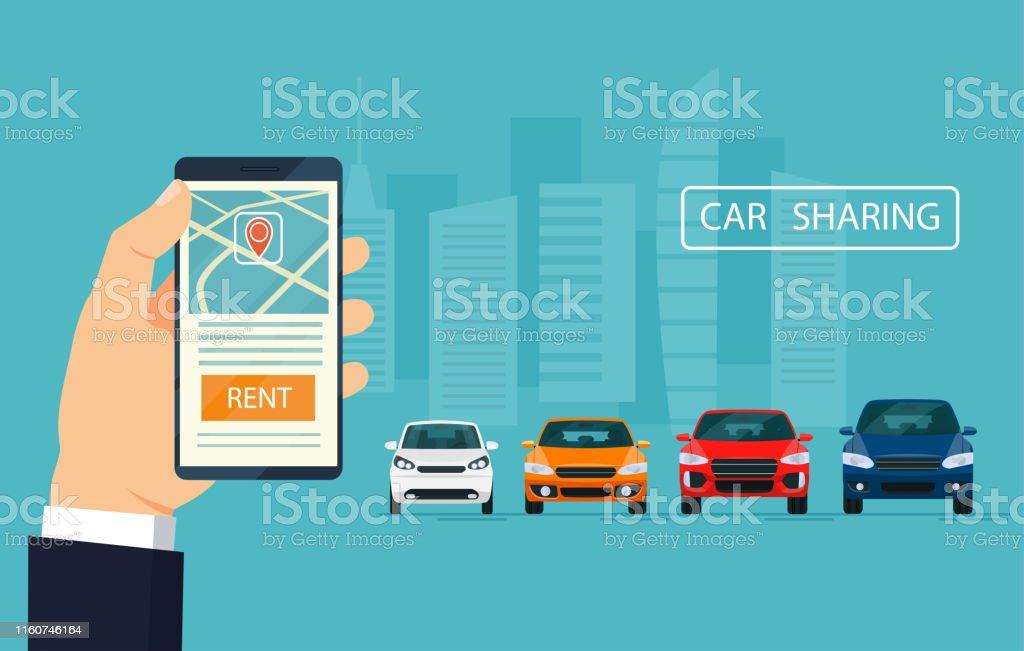 Car sharing concept banner. Vector flat illustration.