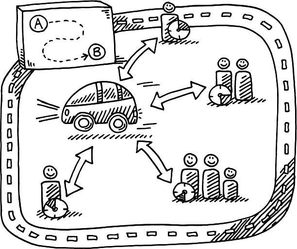illustrations, cliparts, dessins animés et icônes de dessin de voiture concept de partage - covoiturage