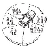 Hand-drawn vector drawing of a Car Sharing Concept, a Pie Chart Diagram with people silhouettes and a car from above with open doors. Black-and-White sketch on a transparent background (.eps-file). Included files are EPS (v10) and Hi-Res JPG.
