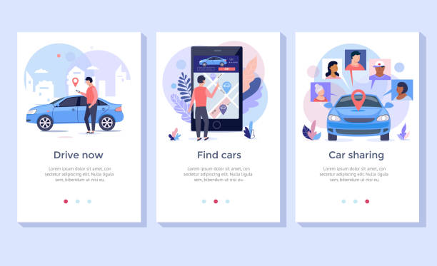 illustrazioni stock, clip art, cartoni animati e icone di tendenza di car sharing concept illustration set. - car