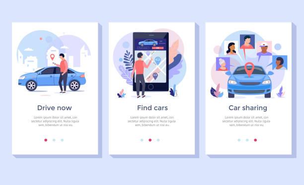 stockillustraties, clipart, cartoons en iconen met autodelen concept illustratie set. - auto