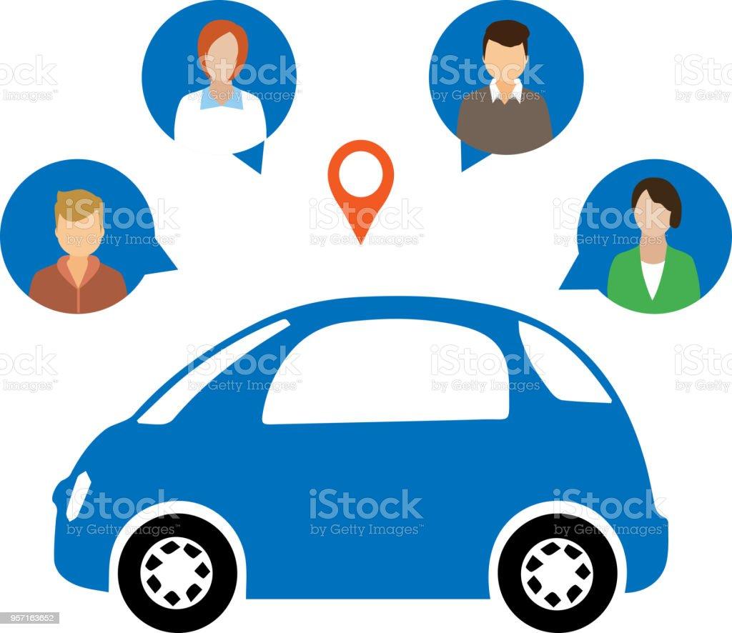 Concept de partage de voiture - Illustration vectorielle