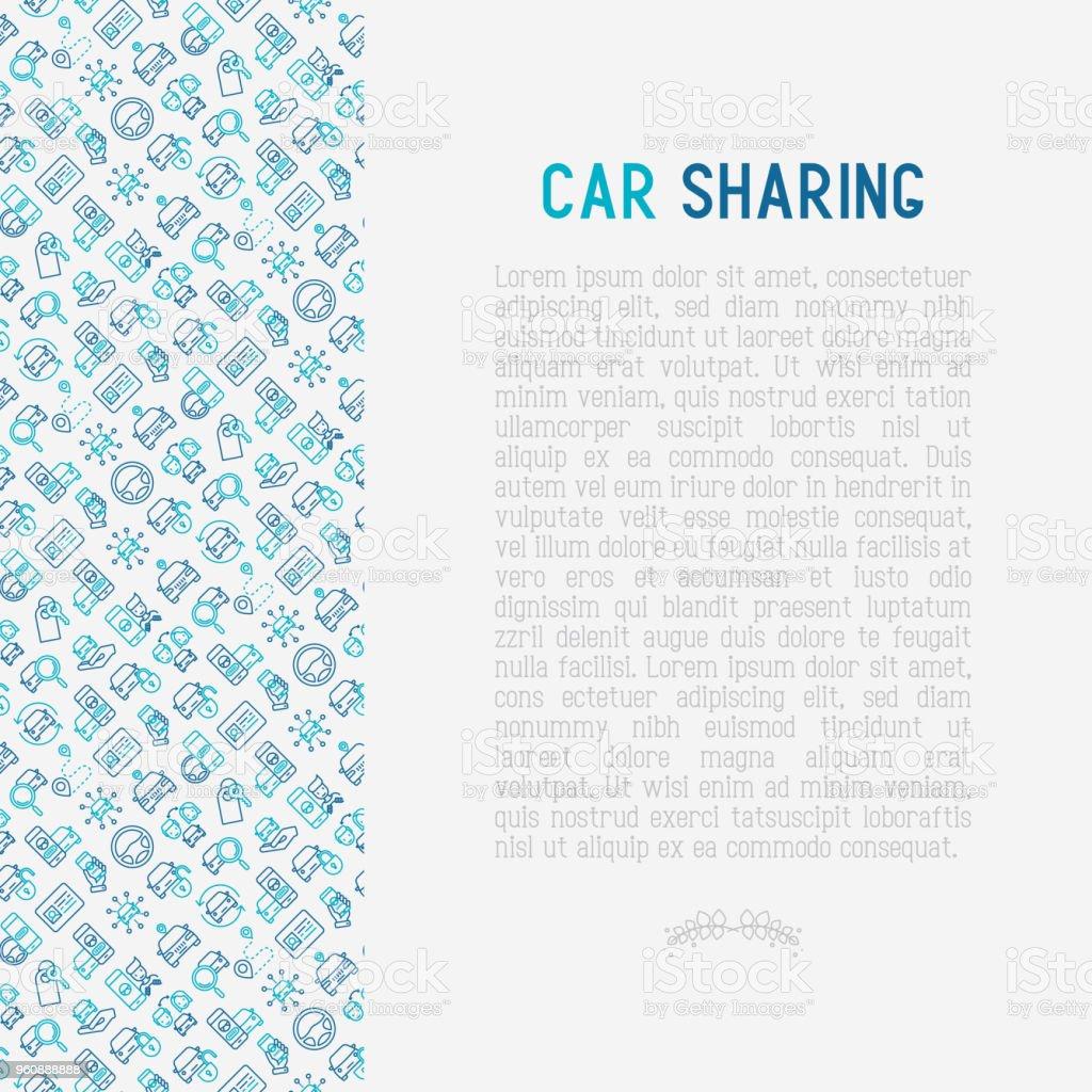 Car-sharing-Konzept mit dünne Linie Ikonen der Führerschein, Schlüssel, blockierte Auto, Zeiger, verfügbar, Suche Autos. Vektor-Illustration für Printmedien, Banner, Web-Seite. - Lizenzfrei Ankunft Vektorgrafik