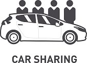Car Sharing. Group of people behind car. Line icon