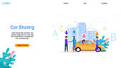 Car Sharing landing Page. City Automobile Network. Cityscape with People near Yellow Taxi. Woman in Back Sit. Passenger Route Search. Autumobile Ride Carsharing Service. Order Application.