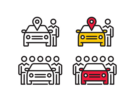 Car sharing line icons