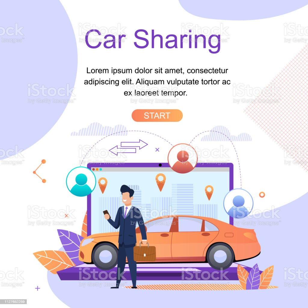 Car Sharing Online Travel Search Services App Stock Illustration