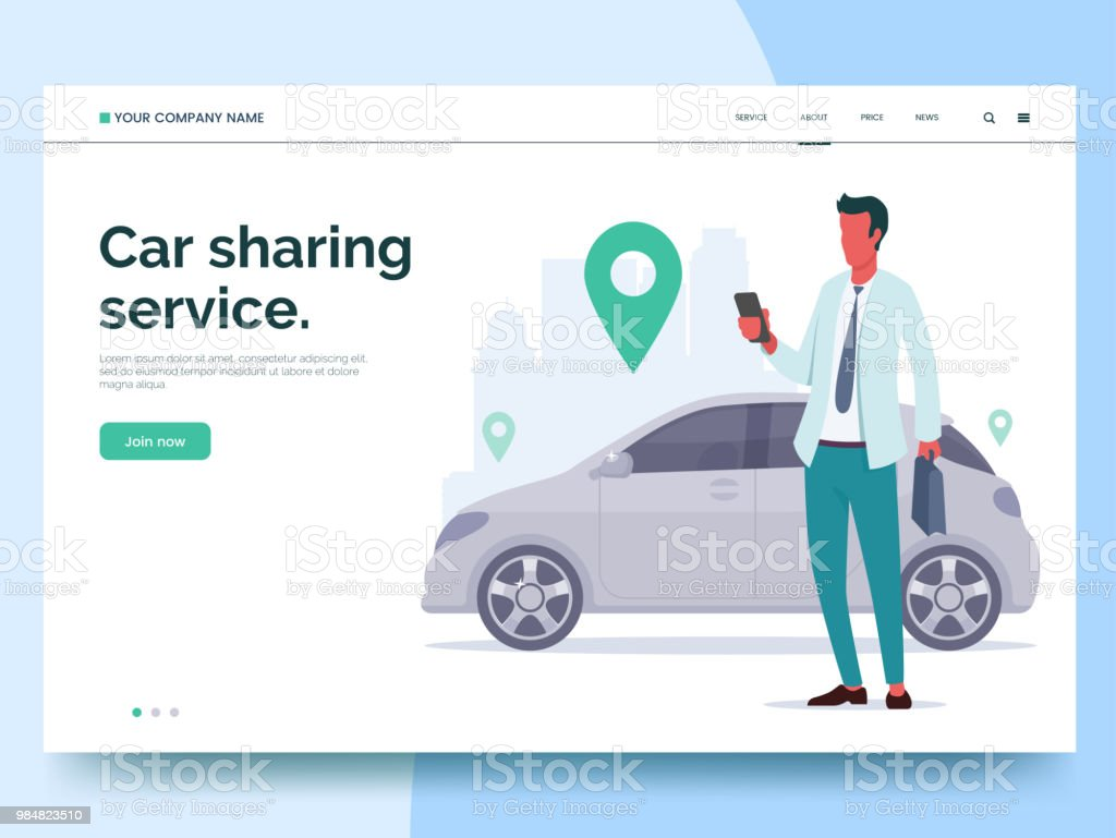 Car sharing service advertising web page template. A man with a smartphone standing near the car. Modern landing page for mobile app with colorful illustration. Business website concept. Eps 10. Car sharing service advertising web page template. A man with a smartphone standing near the car. Modern landing page for mobile app with colorful illustration. Business website concept. Eps 10. Adult stock vector