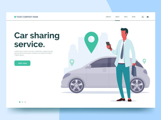illustrazioni stock, clip art, cartoni animati e icone di tendenza di car sharing service advertising web page template. a man with a smartphone standing near the car. modern landing page for mobile app with colorful illustration. business website concept. eps 10. - car