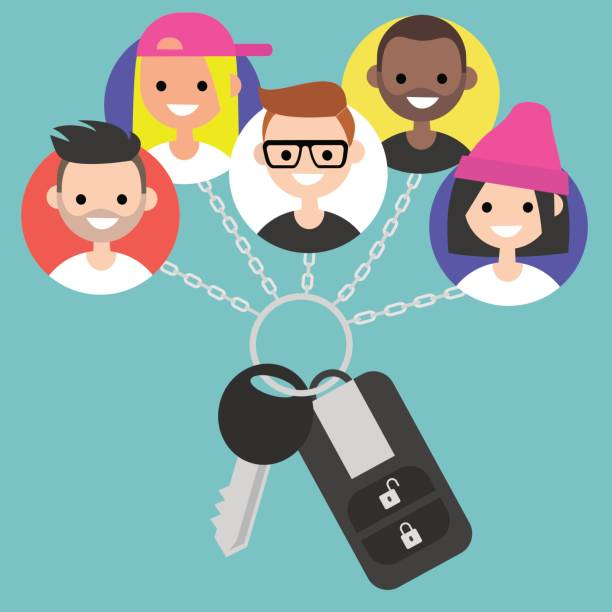 Car sharing service conceptual illustration / flat editable vector, clip art vector art illustration