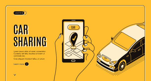 Car sharing service isometric landing page, app vector art illustration