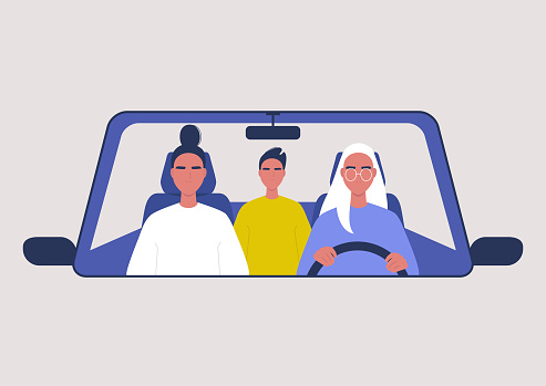 Car sharing service, taxi, three characters inside a vehicle