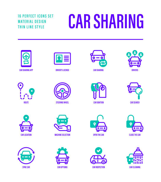 Car sharing set. Mobile app on smartphone, driver license, route, key, car inspection, route, open and close car, sync thin line icons. Vector illustration. vector art illustration
