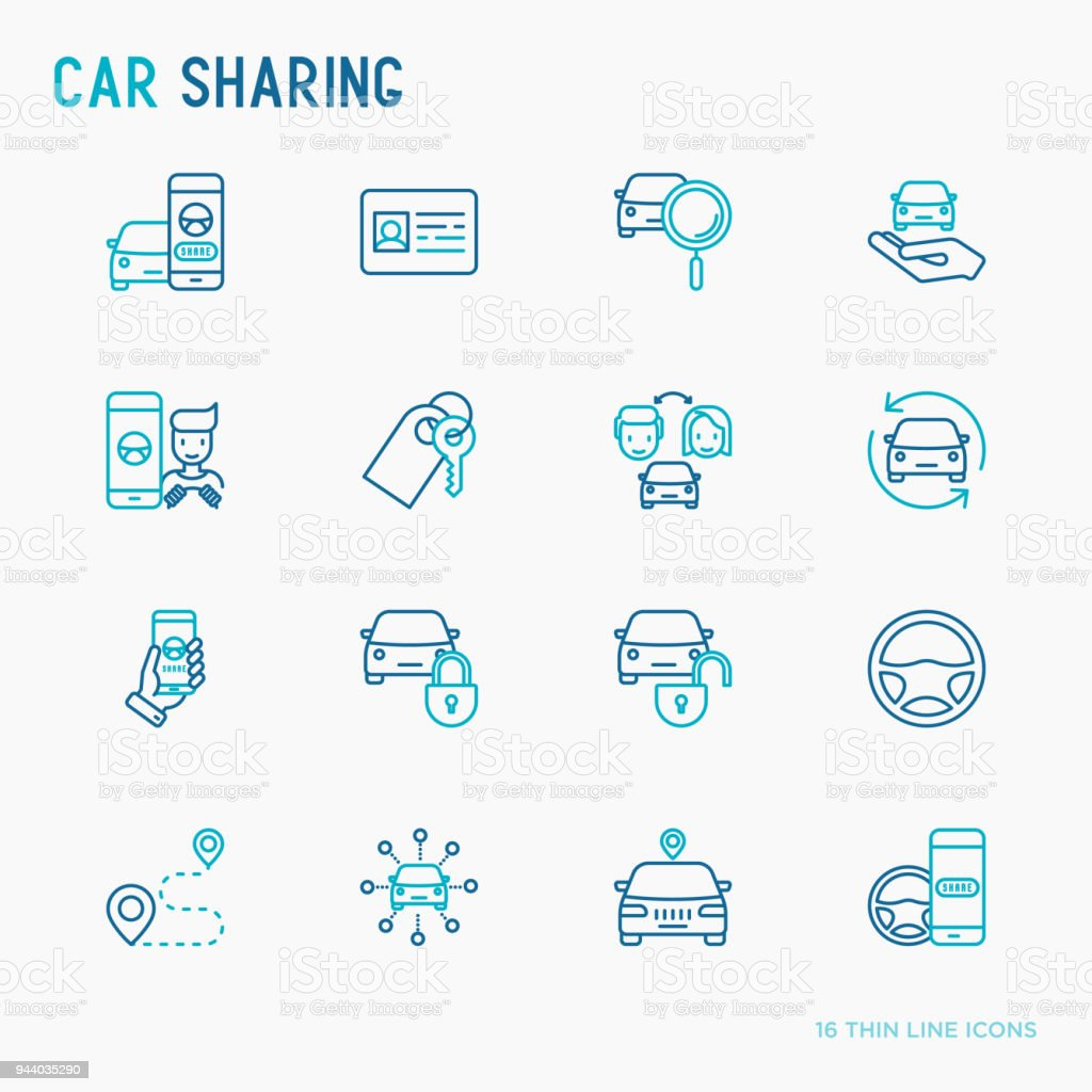 Car sharing thin line icons set of driver's license, key, blocked car, pointer, available, searching of car. Vector illustration. vector art illustration