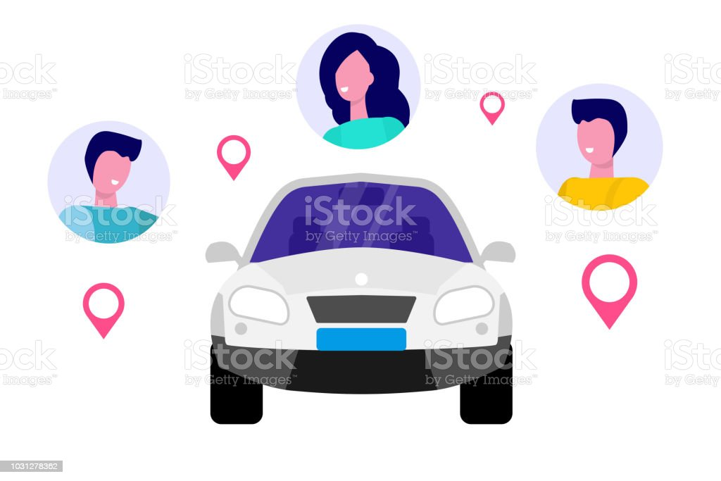 Coche compartido, concepto de servicio de alquiler de transporte. Ilustración de vector. - ilustración de arte vectorial