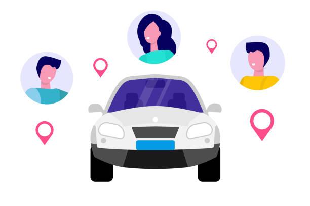 illustrations, cliparts, dessins animés et icônes de covoiturage, transport location la notion de service. illustration vectorielle. - covoiturage