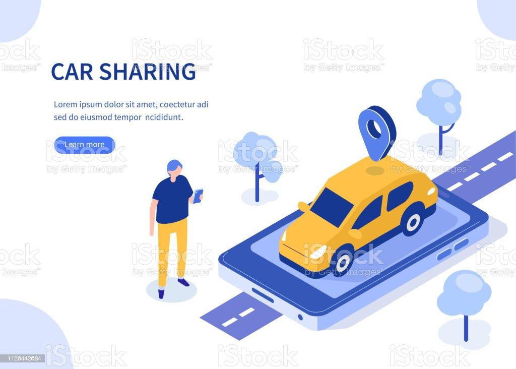 coche compartido ilustración de coche compartido y más vectores libres de derechos de aplicación para móviles libre de derechos