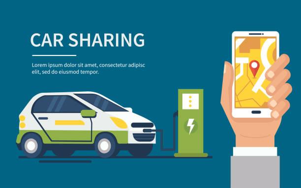 Car sharing vector art illustration