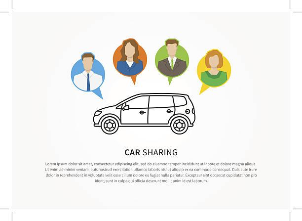 Car sharing vector illustration vector art illustration
