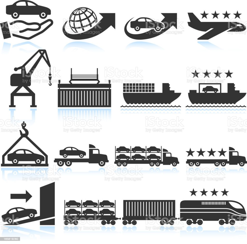 Car shipping and delivery icon set royalty-free stock vector art