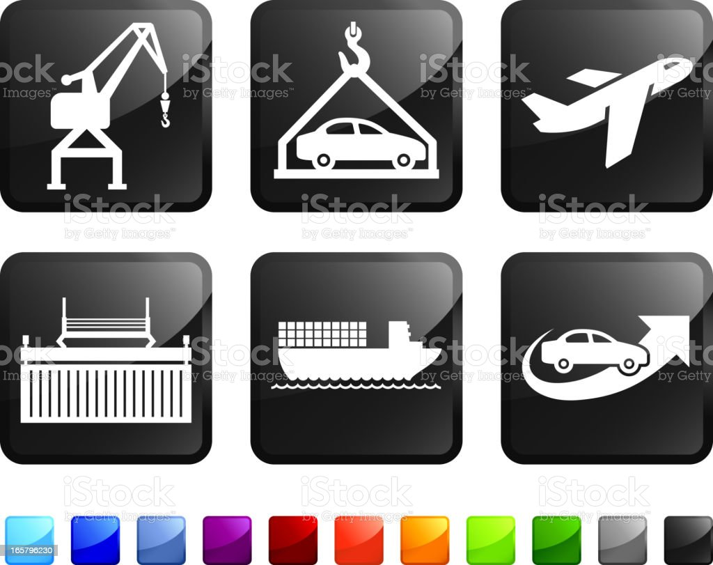 Car Shipping royalty free vector icon set stickers royalty-free car shipping royalty free vector icon set stickers stock vector art & more images of airplane