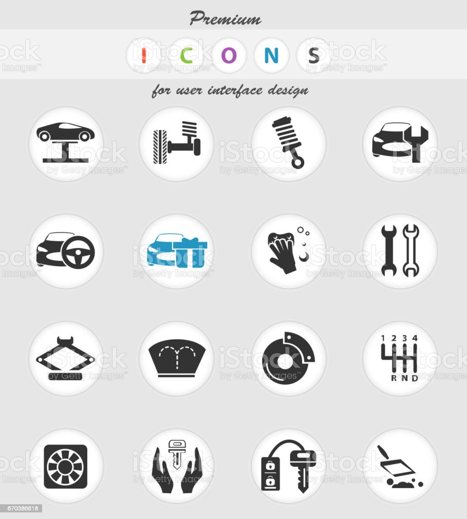 Car Shop Icon Set Stock Illustration Download Image Now Istock