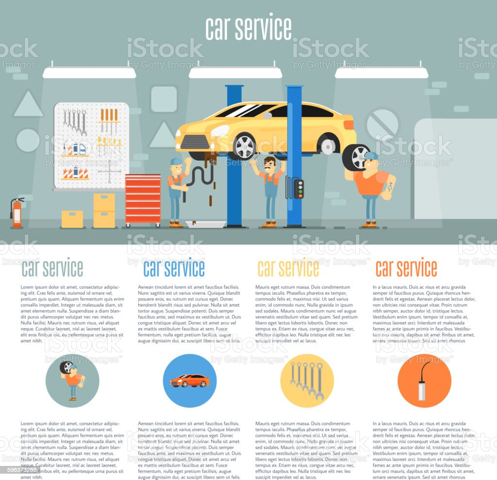 Car shop infographics vector art illustration