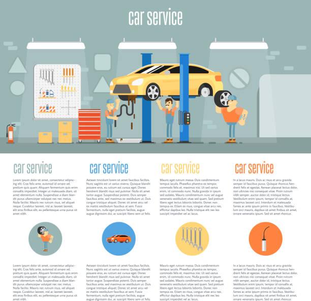 Car shop infographics vector art illustration