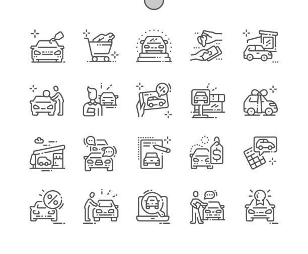 illustrazioni stock, clip art, cartoni animati e icone di tendenza di negozio di auto ben fatto pixel perfect vector thin line icone 30 2x griglia per grafica web e applicazioni. semplice pittogramma minimo - auto