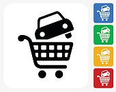 Car Shopping Icon Flat Graphic Design