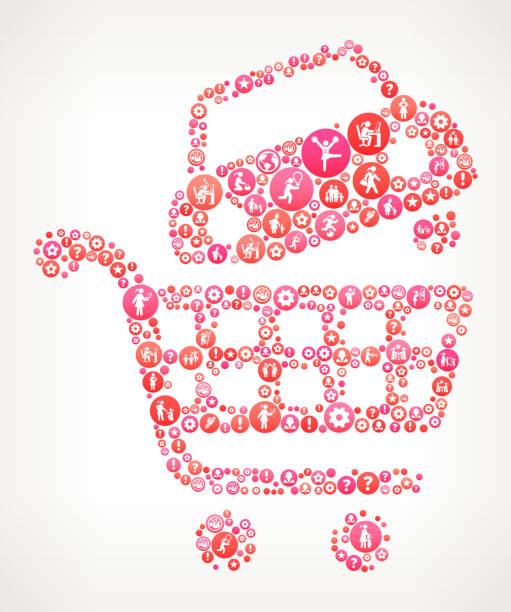 auto einkaufen frauen weibliche ermächtigung icons vektor hintergrund - laufführer stock-grafiken, -clipart, -cartoons und -symbole
