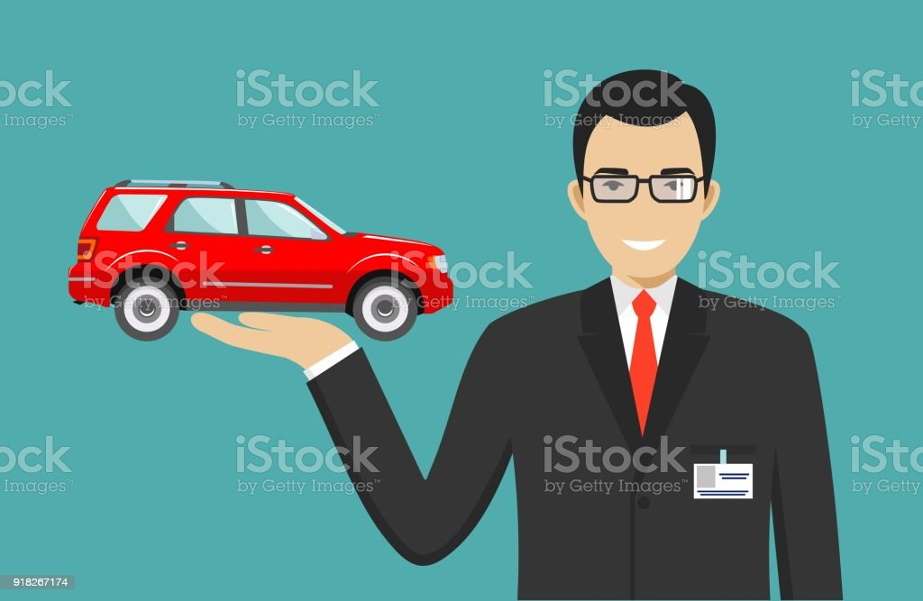 car showroom big sale manager sells new business class automobile detailed illustration of