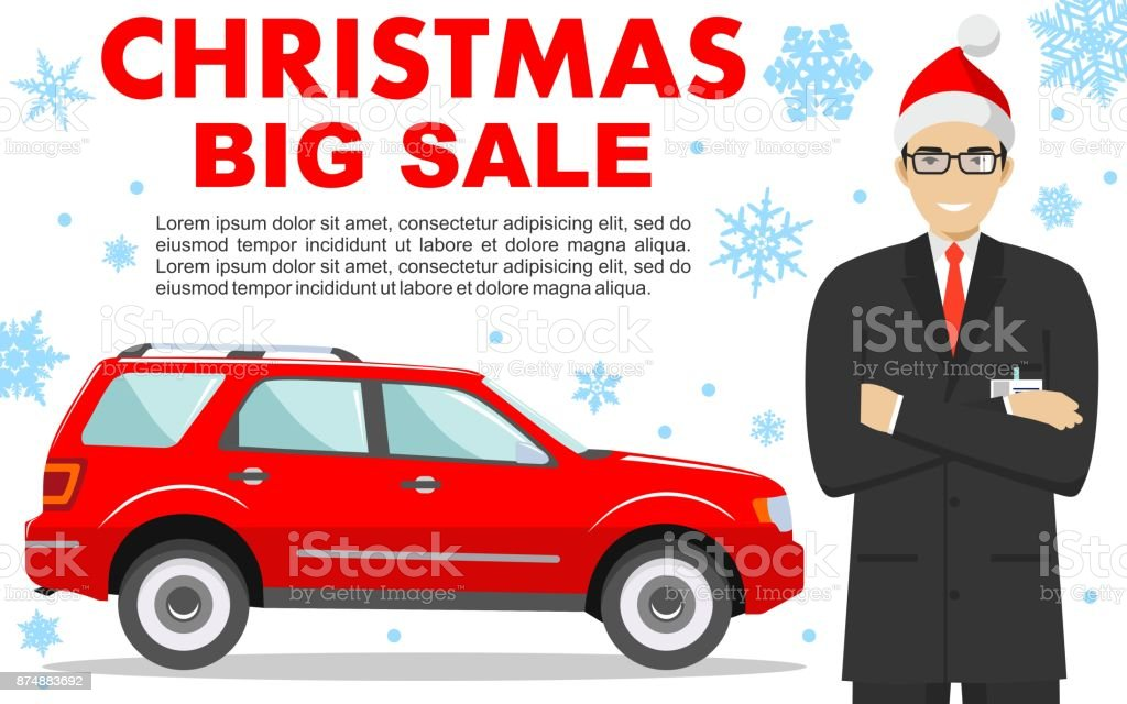 car showroom christmas and new year big sale manager in the santa claus hat