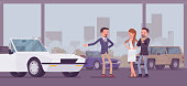 Car showroom, dealer and vehicle buyers. Male seller offering expensive cabriolet for sale, man and woman, couple choosing new family auto in sales agency, automobile shop display. Vector illustration