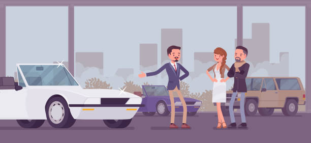 Car showroom, dealer and vehicle buyers Car showroom, dealer and vehicle buyers. Male seller offering expensive cabriolet for sale, man and woman, couple choosing new family auto in sales agency, automobile shop display. Vector illustration showroom stock illustrations