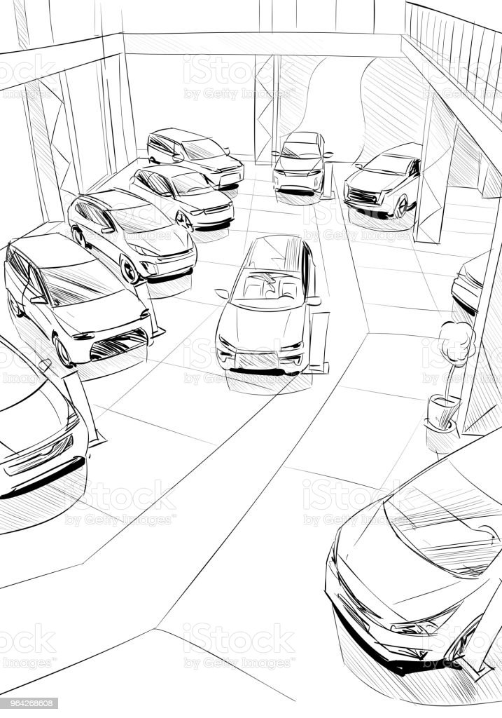 Car Showroom Exterior Design Sketch Hand Drawn Vector Illustration