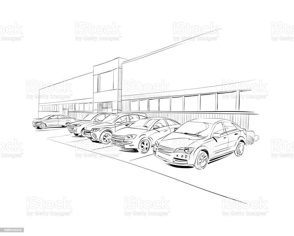 Auto-Showroom-außen. Hand gezeichnet Vektor-illustration – Vektorgrafik