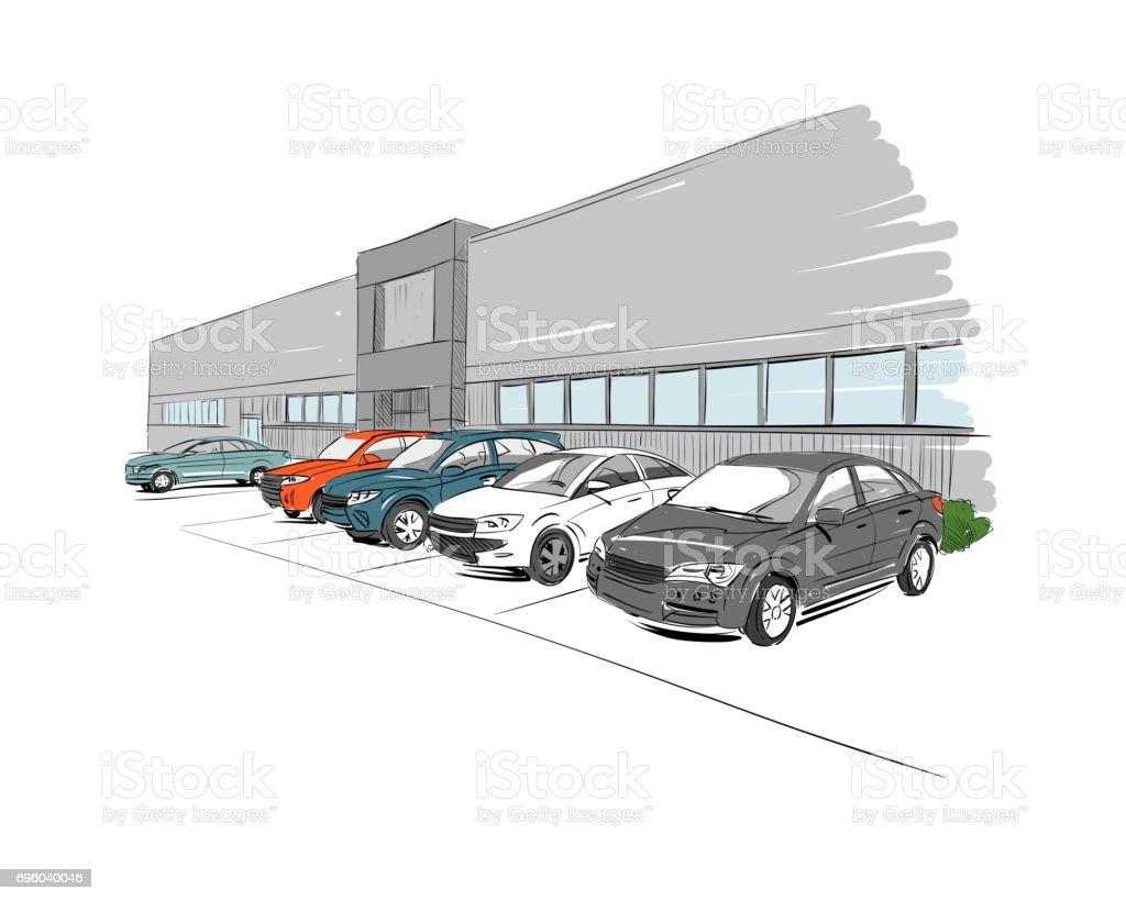 Car showroom exterior. Hand drawn vector illustration vector art illustration