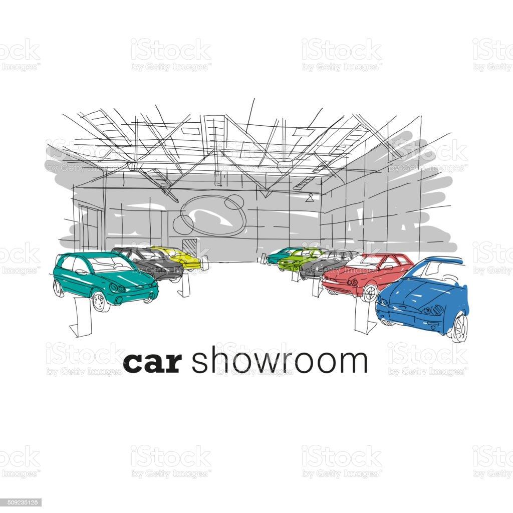 Ausstellungsraum Innenraum design-Skizze. Handgezeichnet Vektor-illustration – Vektorgrafik