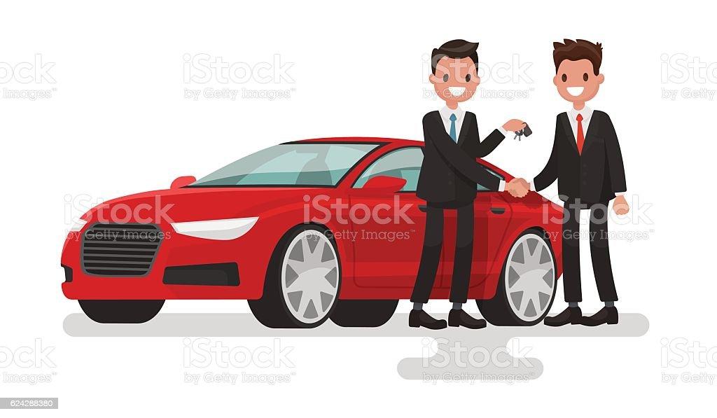 Car showroom. Purchase sale or rental car. Seller man - ilustração de arte em vetor