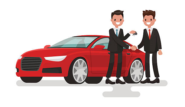 Car showroom. Purchase sale or rental car. Seller man Car showroom. Purchase sale or rental car. Seller man hands over the keys of the car owner. Vector illustration in a flat style car salesperson stock illustrations