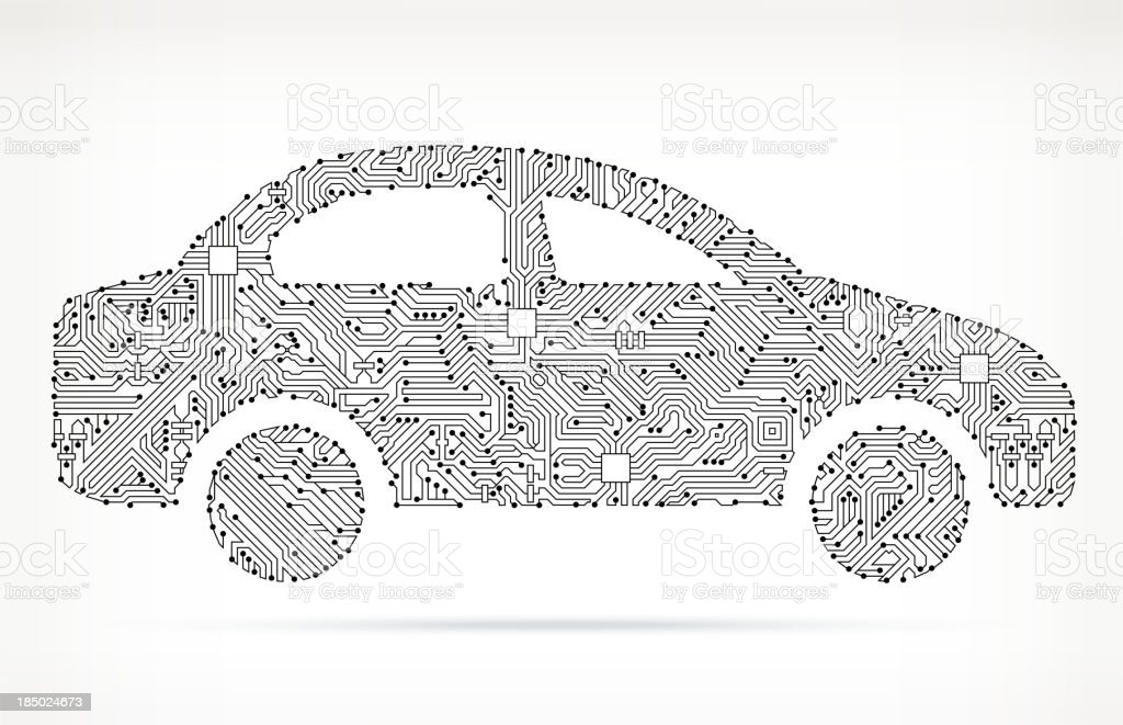Car Side on Circuit Board vector art illustration