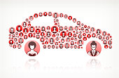 Car Side Women Faces Girl Power Pattern. This vector collage has pink and red round buttons arrange in seamless patter. Individual iconography on the buttons shows women portraits. Women and businesswomen convey a feeling of girl power unity teamwork and partnership. This royalty free vector background graphic is ideal for your feminism and girl power concepts.