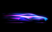 Car silhouette in speed motion lines in vector