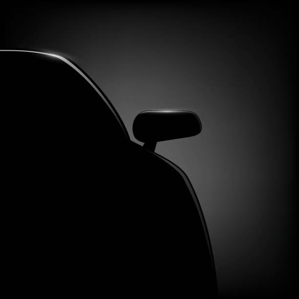 stockillustraties, clipart, cartoons en iconen met car silhouette on a black background. - mist donker auto