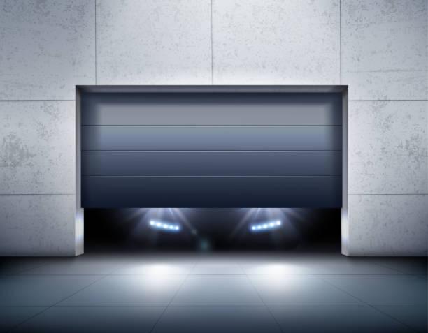 Auto-Silhouette mit Lichtern in der Garage – Vektorgrafik