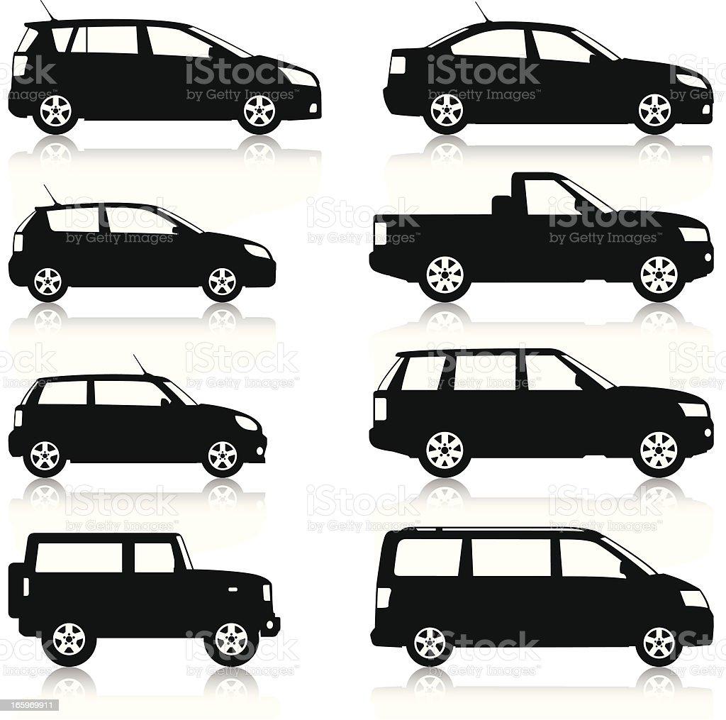 Car Silhouettes set royalty-free stock vector art